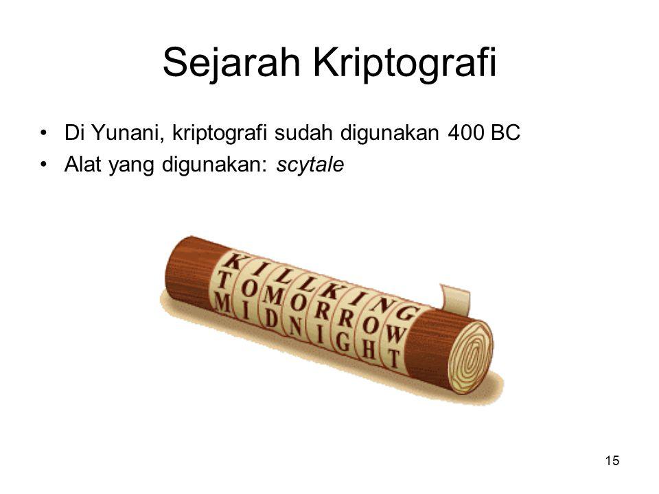 15 Sejarah Kriptografi Di Yunani, kriptografi sudah digunakan 400 BC Alat yang digunakan: scytale