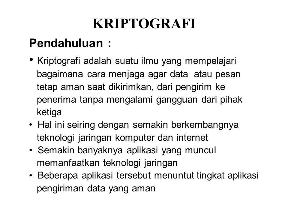 KRIPTOGRAFI Pendahuluan : Kriptografi adalah suatu ilmu yang mempelajari bagaimana cara menjaga agar data atau pesan tetap aman saat dikirimkan, dari