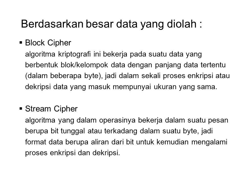 Berdasarkan besar data yang diolah :  Block Cipher algoritma kriptografi ini bekerja pada suatu data yang berbentuk blok/kelompok data dengan panjang