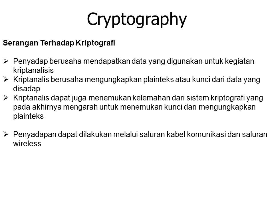 Cryptography Serangan Terhadap Kriptografi  Penyadap berusaha mendapatkan data yang digunakan untuk kegiatan kriptanalisis  Kriptanalis berusaha men