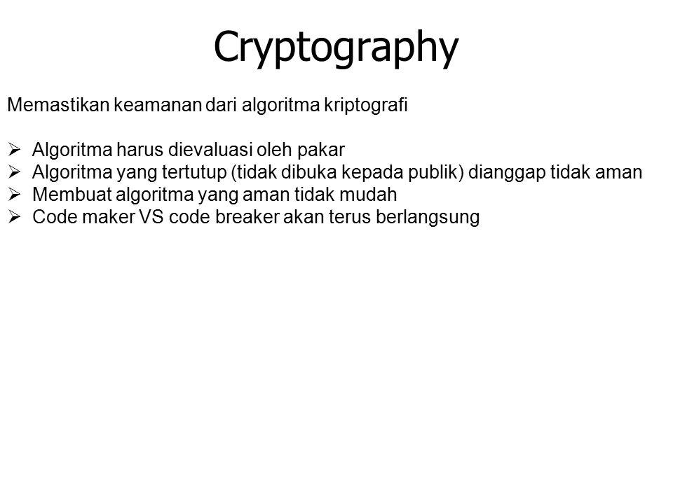 Cryptography Memastikan keamanan dari algoritma kriptografi  Algoritma harus dievaluasi oleh pakar  Algoritma yang tertutup (tidak dibuka kepada publik) dianggap tidak aman  Membuat algoritma yang aman tidak mudah  Code maker VS code breaker akan terus berlangsung
