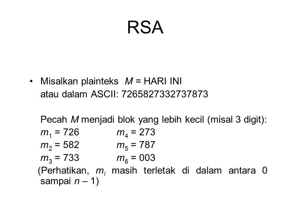 RSA Misalkan plainteks M = HARI INI atau dalam ASCII: 7265827332737873 Pecah M menjadi blok yang lebih kecil (misal 3 digit): m 1 = 726m 4 = 273 m 2 =