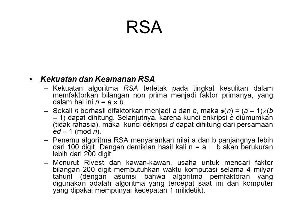 RSA Kekuatan dan Keamanan RSA –Kekuatan algoritma RSA terletak pada tingkat kesulitan dalam memfaktorkan bilangan non prima menjadi faktor primanya, yang dalam hal ini n = a  b.