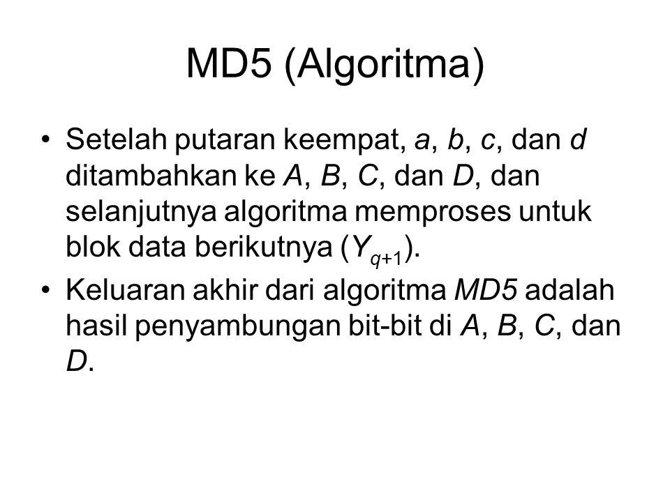 MD5 (Algoritma) Setelah putaran keempat, a, b, c, dan d ditambahkan ke A, B, C, dan D, dan selanjutnya algoritma memproses untuk blok data berikutnya