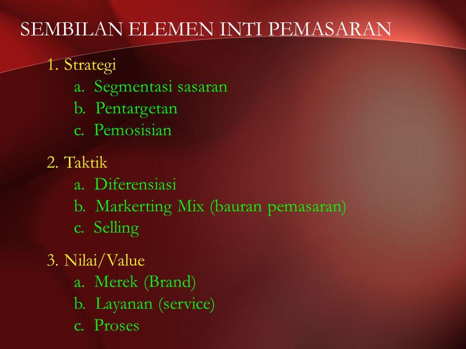 SEMBILAN ELEMEN INTI PEMASARAN 1.Strategi a. Segmentasi sasaran b.