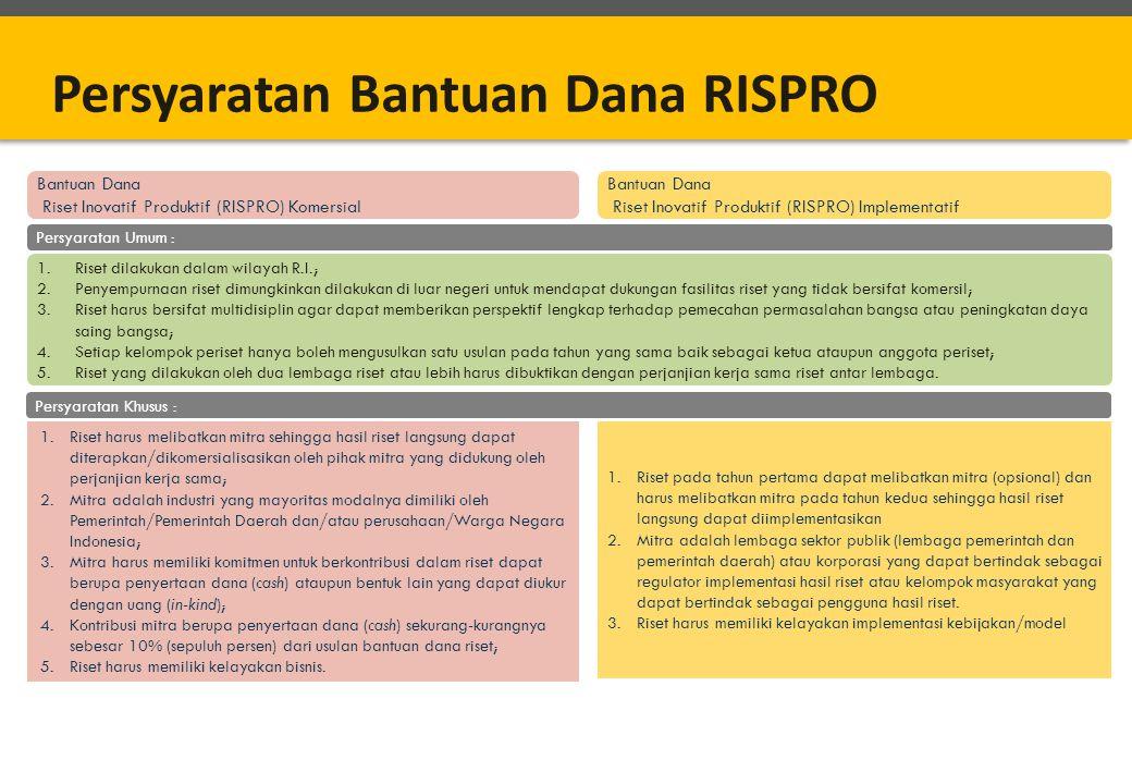 Bantuan Dana Riset Inovatif Produktif (RISPRO) Komersial Bantuan Dana Riset Inovatif Produktif (RISPRO) Implementatif 1.Riset harus melibatkan mitra s