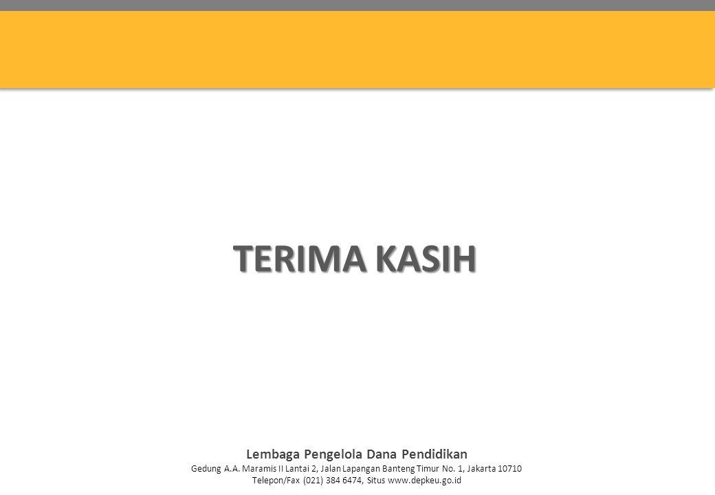 TERIMA KASIH Lembaga Pengelola Dana Pendidikan Gedung A.A. Maramis II Lantai 2, Jalan Lapangan Banteng Timur No. 1, Jakarta 10710 Telepon/Fax (021) 38