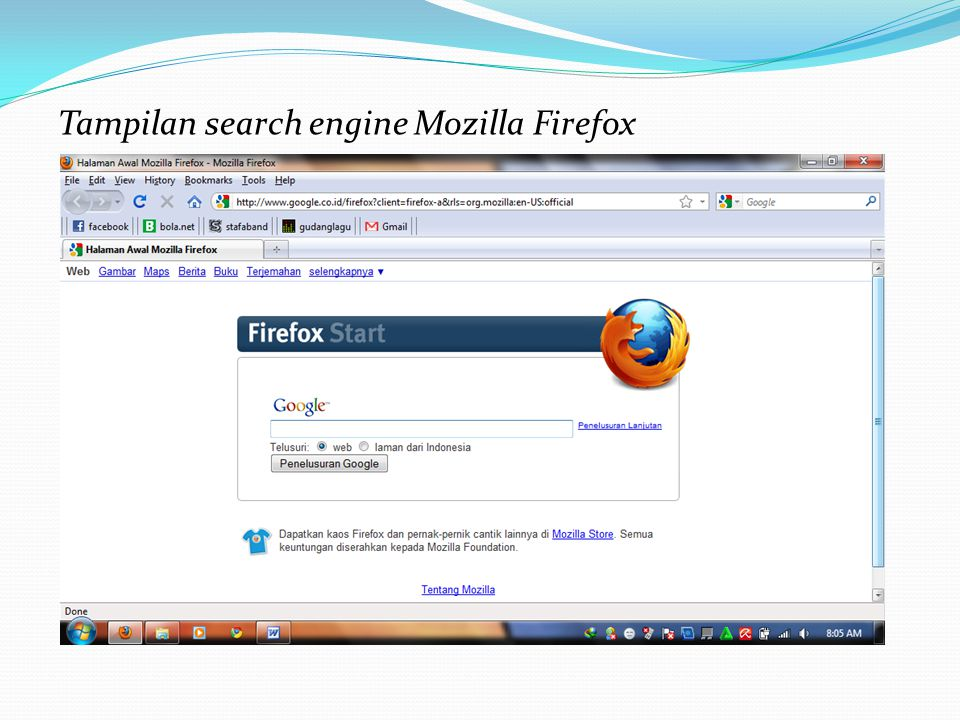 Tampilan search engine Mozilla Firefox