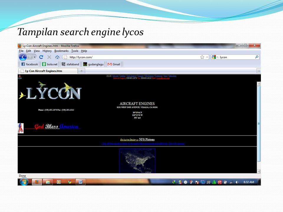 Tampilan search engine lycos