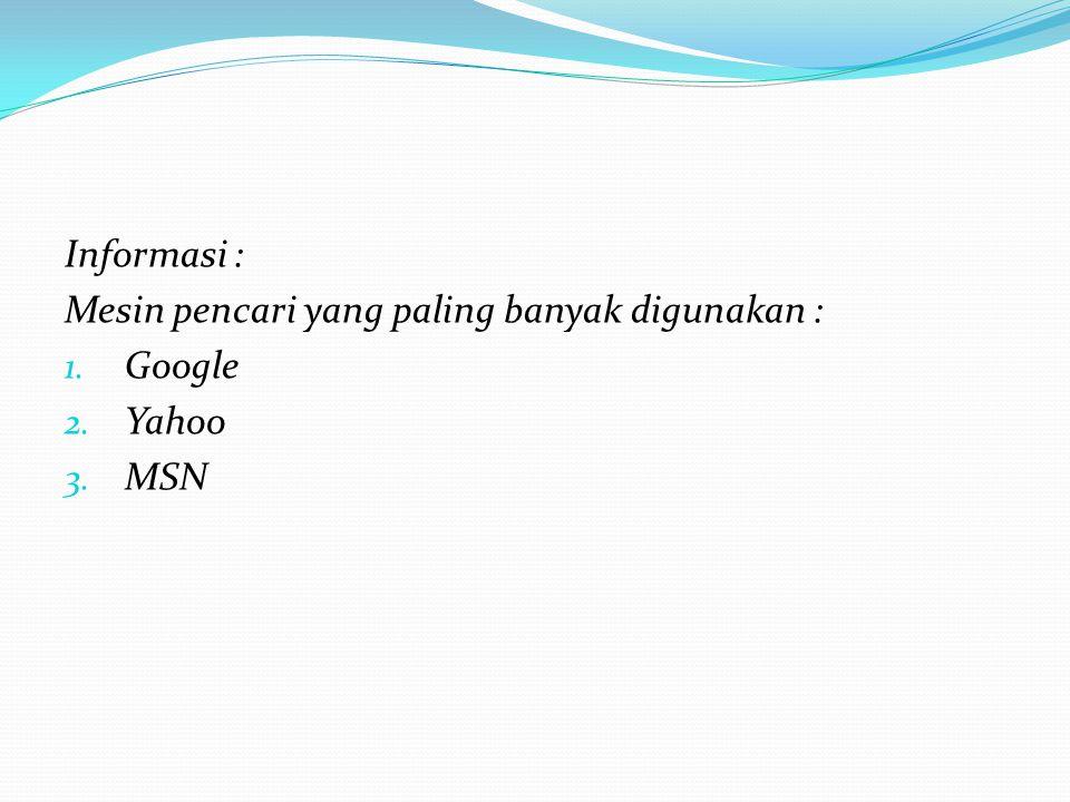 Informasi : Mesin pencari yang paling banyak digunakan : 1. Google 2. Yahoo 3. MSN