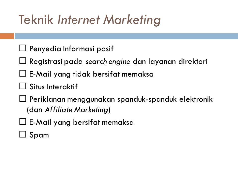Teknik Internet Marketing Penyedia Informasi pasif Registrasi pada search engine dan layanan direktori E-Mail yang tidak bersifat memaksa Situs Intera