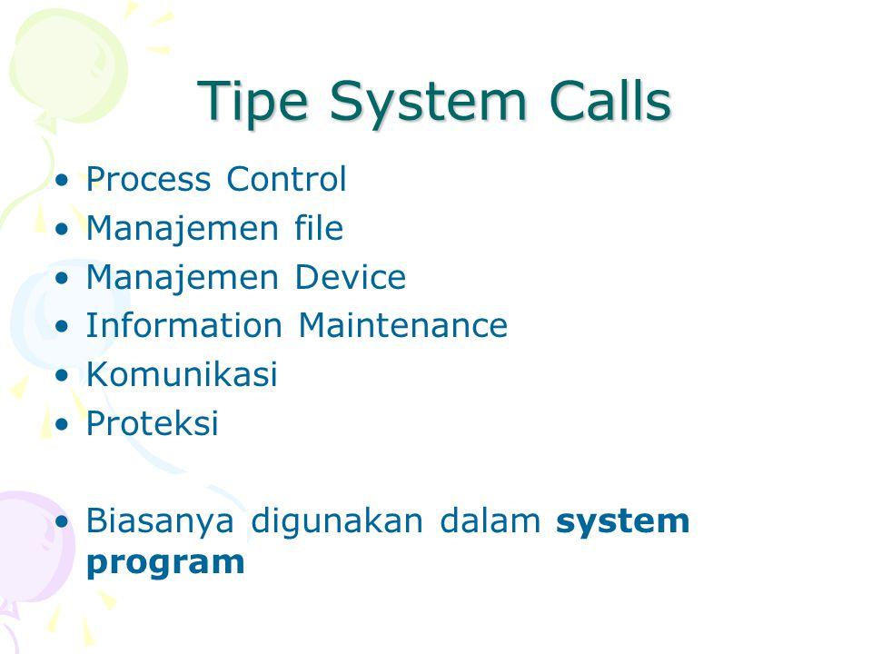 Tipe System Calls Process Control Manajemen file Manajemen Device Information Maintenance Komunikasi Proteksi Biasanya digunakan dalam system program