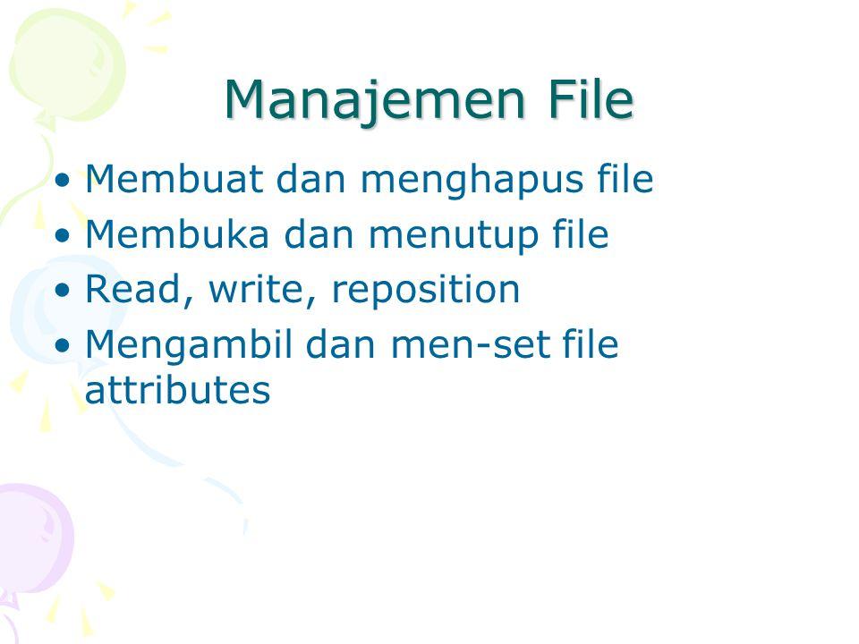 Manajemen File Membuat dan menghapus file Membuka dan menutup file Read, write, reposition Mengambil dan men-set file attributes