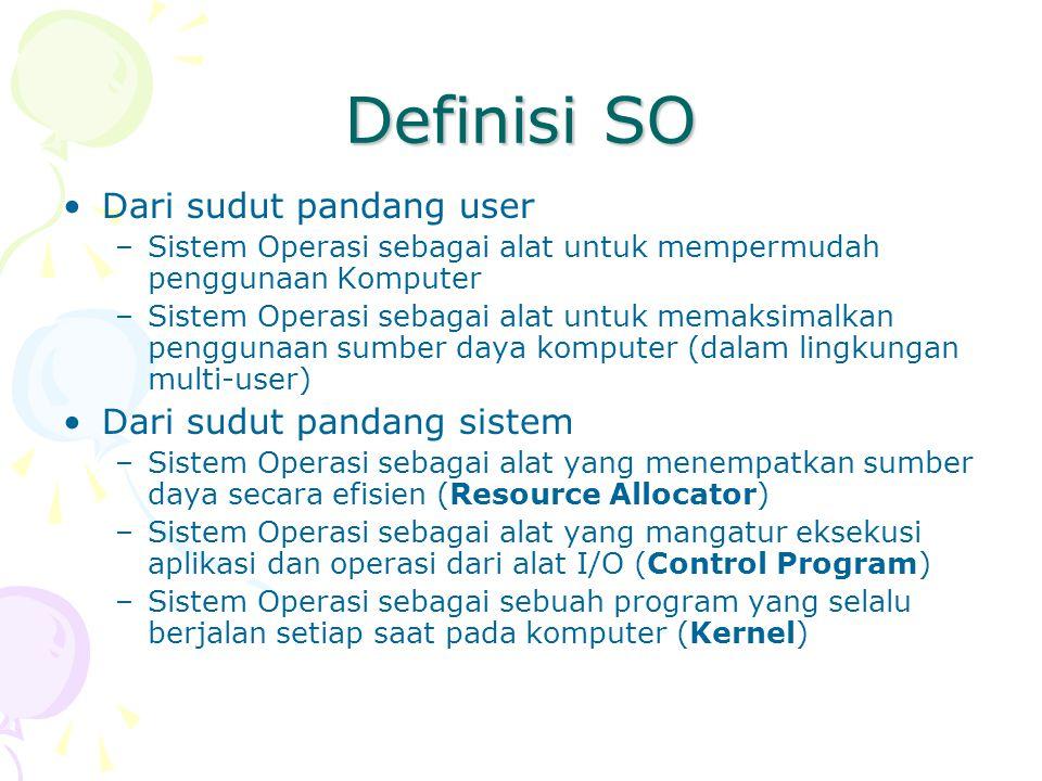 Definisi SO Dari sudut pandang user –Sistem Operasi sebagai alat untuk mempermudah penggunaan Komputer –Sistem Operasi sebagai alat untuk memaksimalka
