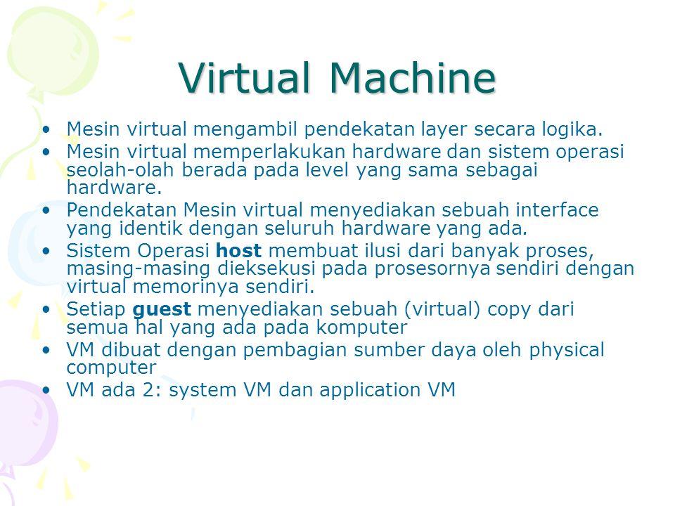 Virtual Machine Mesin virtual mengambil pendekatan layer secara logika. Mesin virtual memperlakukan hardware dan sistem operasi seolah-olah berada pad