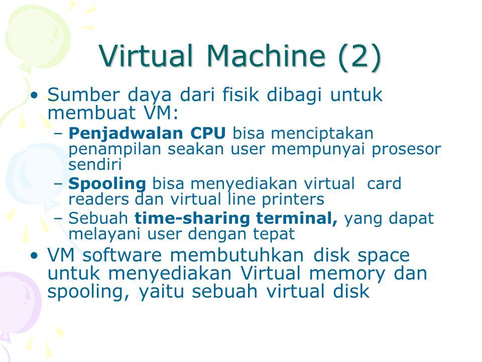Virtual Machine (2) Sumber daya dari fisik dibagi untuk membuat VM: –Penjadwalan CPU bisa menciptakan penampilan seakan user mempunyai prosesor sendir