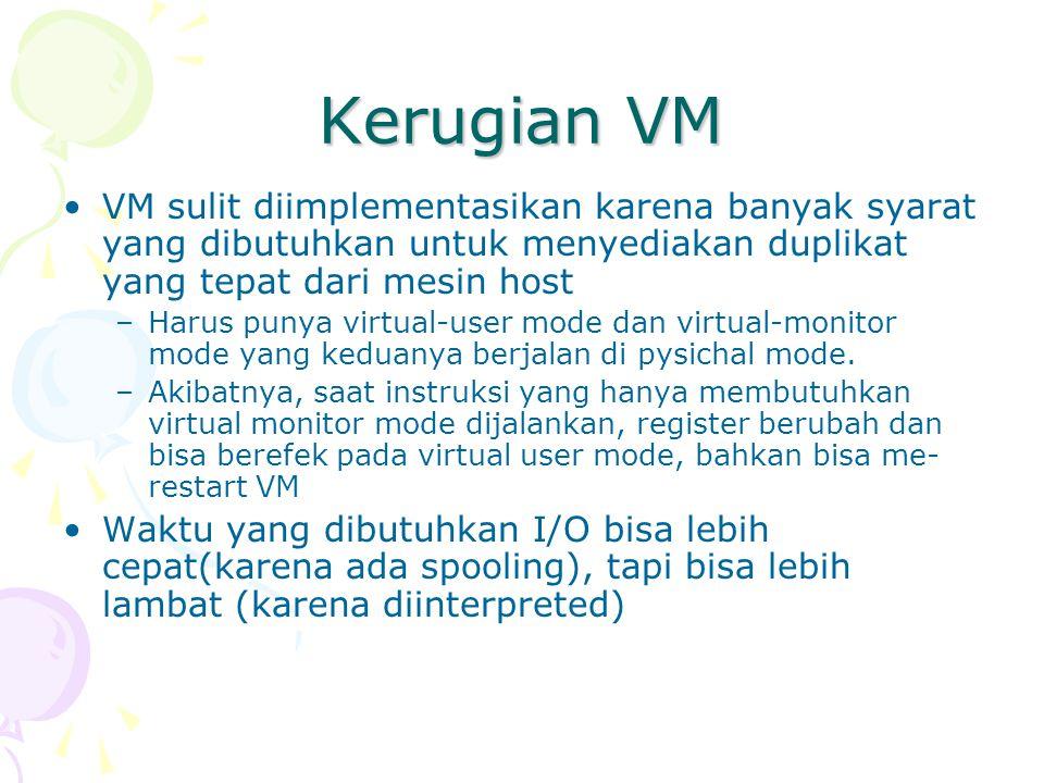Kerugian VM VM sulit diimplementasikan karena banyak syarat yang dibutuhkan untuk menyediakan duplikat yang tepat dari mesin host –Harus punya virtual