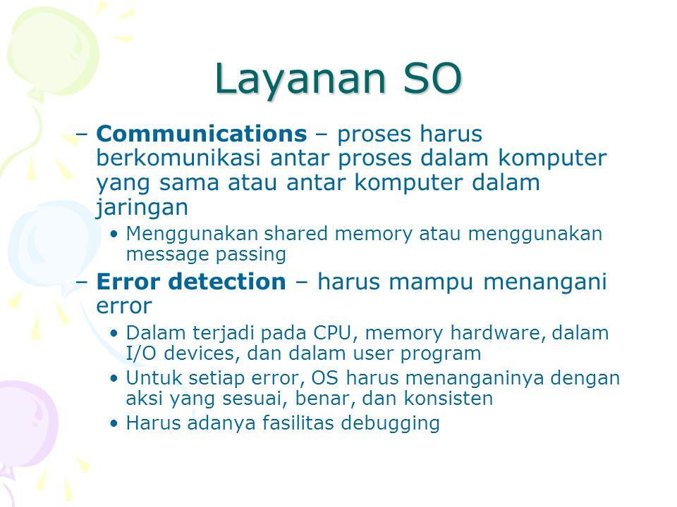Layanan SO –Communications – proses harus berkomunikasi antar proses dalam komputer yang sama atau antar komputer dalam jaringan Menggunakan shared me