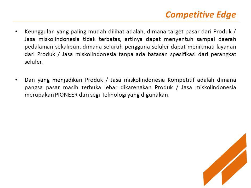 Competitive Edge Keunggulan yang paling mudah dilihat adalah, dimana target pasar dari Produk / Jasa miskolindonesia tidak terbatas, artinya dapat men