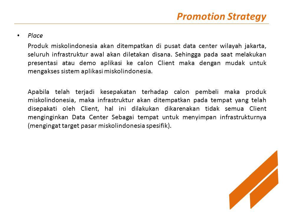 Promotion Strategy Place Produk miskolindonesia akan ditempatkan di pusat data center wilayah jakarta, seluruh infrastruktur awal akan diletakan disana.