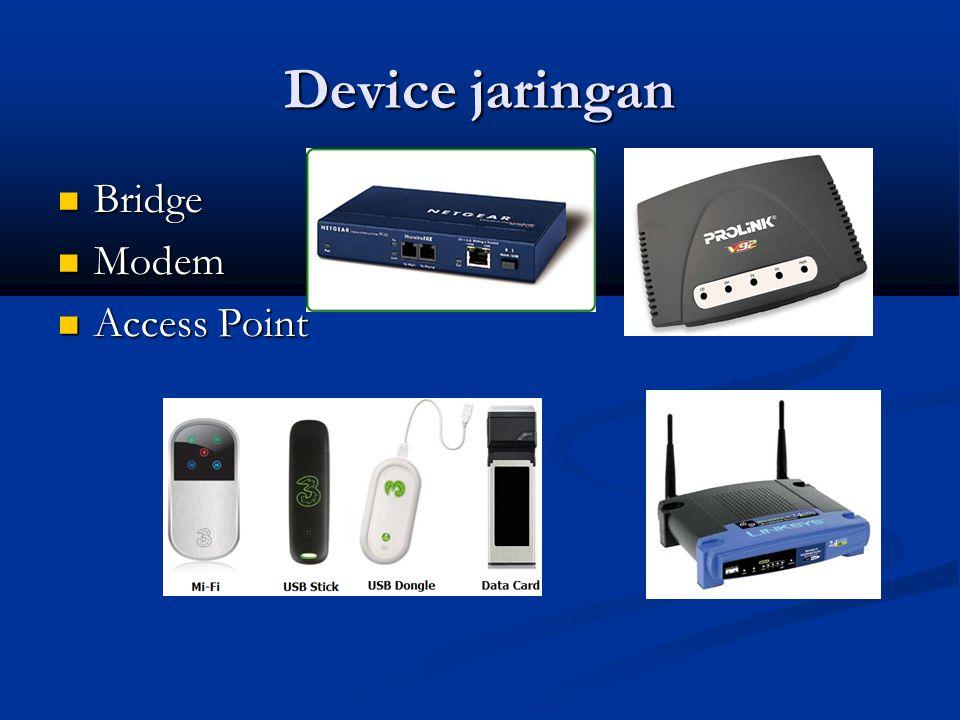 Device jaringan Bridge Bridge Modem Modem Access Point Access Point