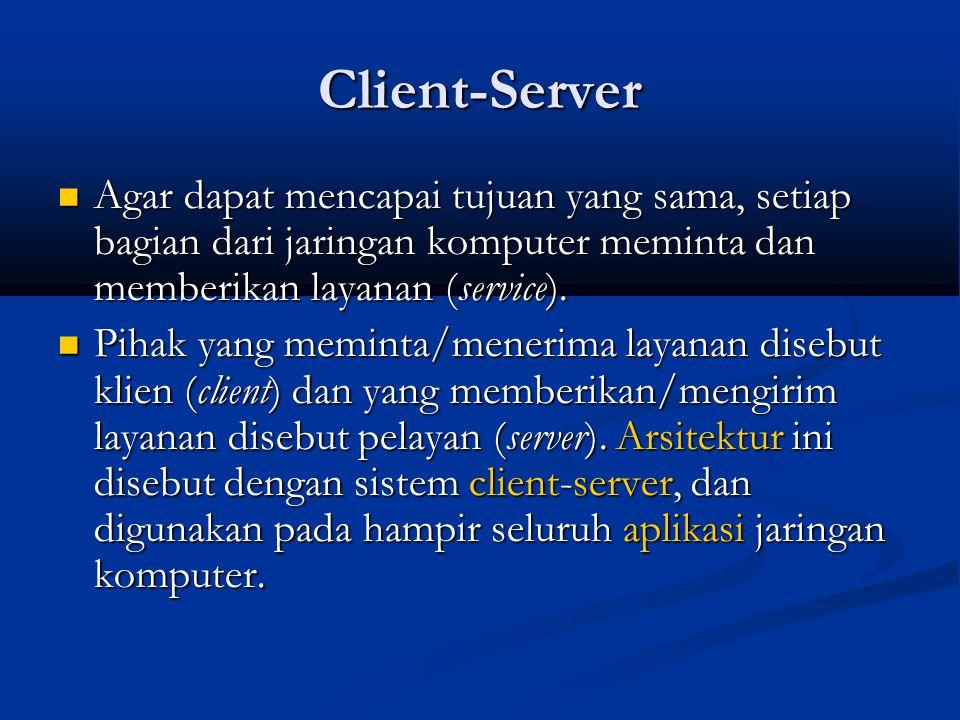 Client-Server Agar dapat mencapai tujuan yang sama, setiap bagian dari jaringan komputer meminta dan memberikan layanan (service). Agar dapat mencapai