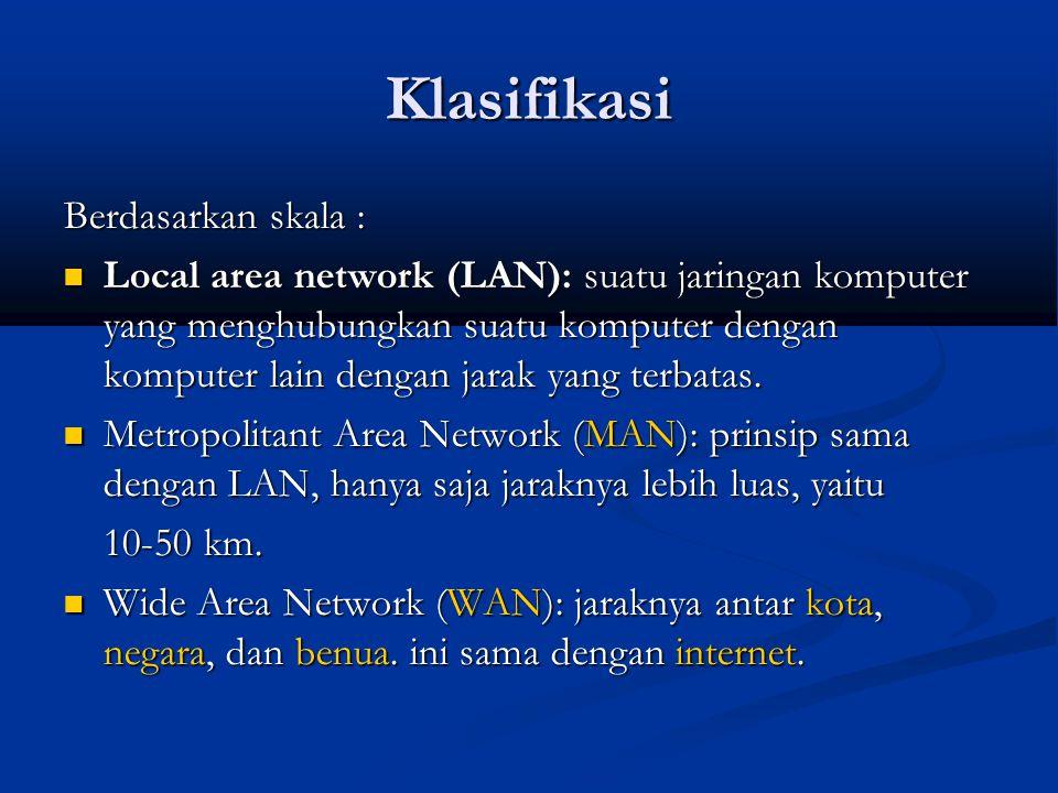 Klasifikasi Berdasarkan skala : Local area network (LAN): suatu jaringan komputer yang menghubungkan suatu komputer dengan komputer lain dengan jarak