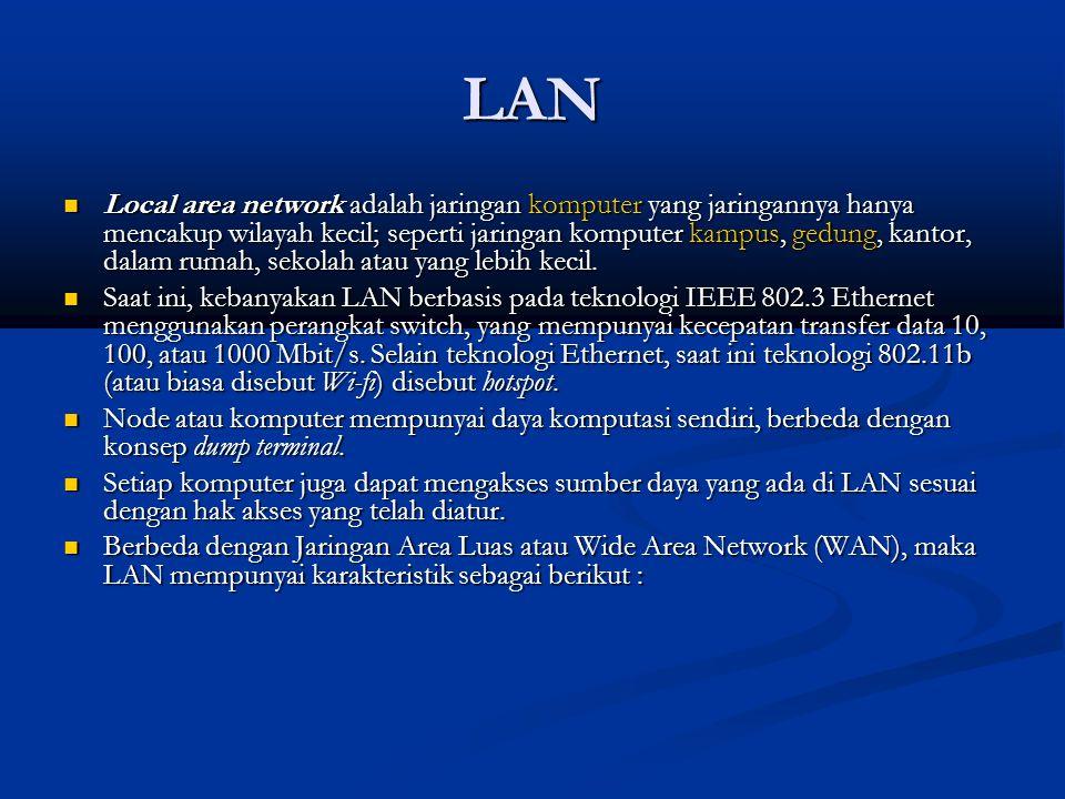 LAN Local area network adalah jaringan komputer yang jaringannya hanya mencakup wilayah kecil; seperti jaringan komputer kampus, gedung, kantor, dalam rumah, sekolah atau yang lebih kecil.