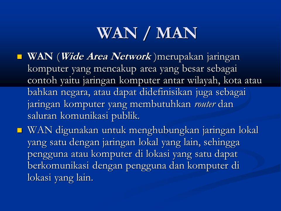WAN (Wide Area Network )merupakan jaringan komputer yang mencakup area yang besar sebagai contoh yaitu jaringan komputer antar wilayah, kota atau bahk
