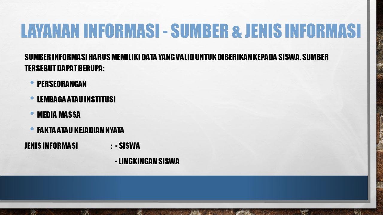 LAYANAN INFORMASI - SUMBER & JENIS INFORMASI SUMBER INFORMASI HARUS MEMILIKI DATA YANG VALID UNTUK DIBERIKAN KEPADA SISWA.