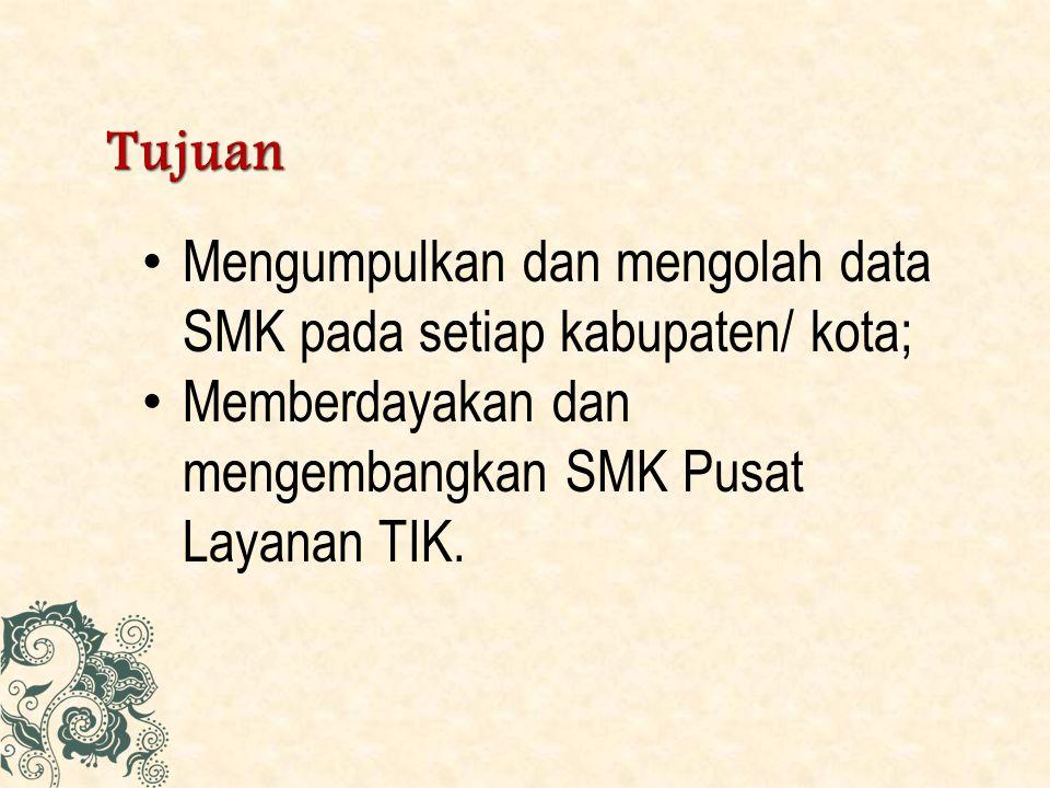 Sasaran Bantuan Pengembangan Layanan Pusat TIK SMK sebanyak 470 lokasi dan diprioritaskan untuk SMK yang telah ditetapkan sebagai Pusat TIK tahun 2012 dan telah menyampaikan laporan Pelaksanaan Kegiatan Pemberdayaan Pusat TIK Tahun 2012