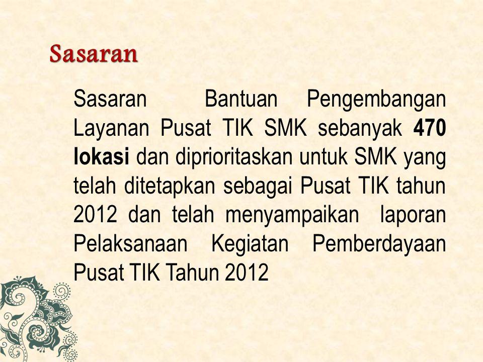 Sasaran Bantuan Pengembangan Layanan Pusat TIK SMK sebanyak 470 lokasi dan diprioritaskan untuk SMK yang telah ditetapkan sebagai Pusat TIK tahun 2012