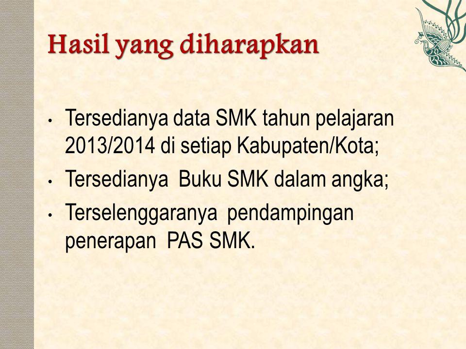 Tersedianya data SMK tahun pelajaran 2013/2014 di setiap Kabupaten/Kota; Tersedianya Buku SMK dalam angka; Terselenggaranya pendampingan penerapan PAS