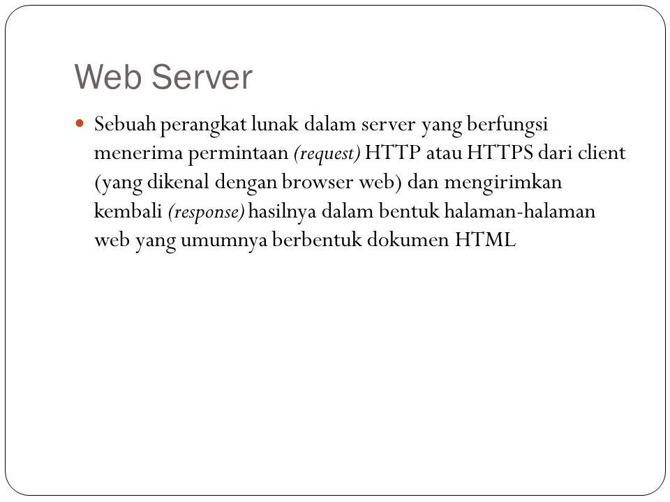 Sebuah perangkat lunak dalam server yang berfungsi menerima permintaan (request) HTTP atau HTTPS dari client (yang dikenal dengan browser web) dan men