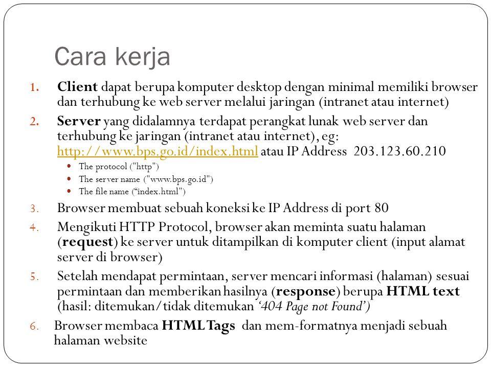 Cara kerja 1. Client dapat berupa komputer desktop dengan minimal memiliki browser dan terhubung ke web server melalui jaringan (intranet atau interne