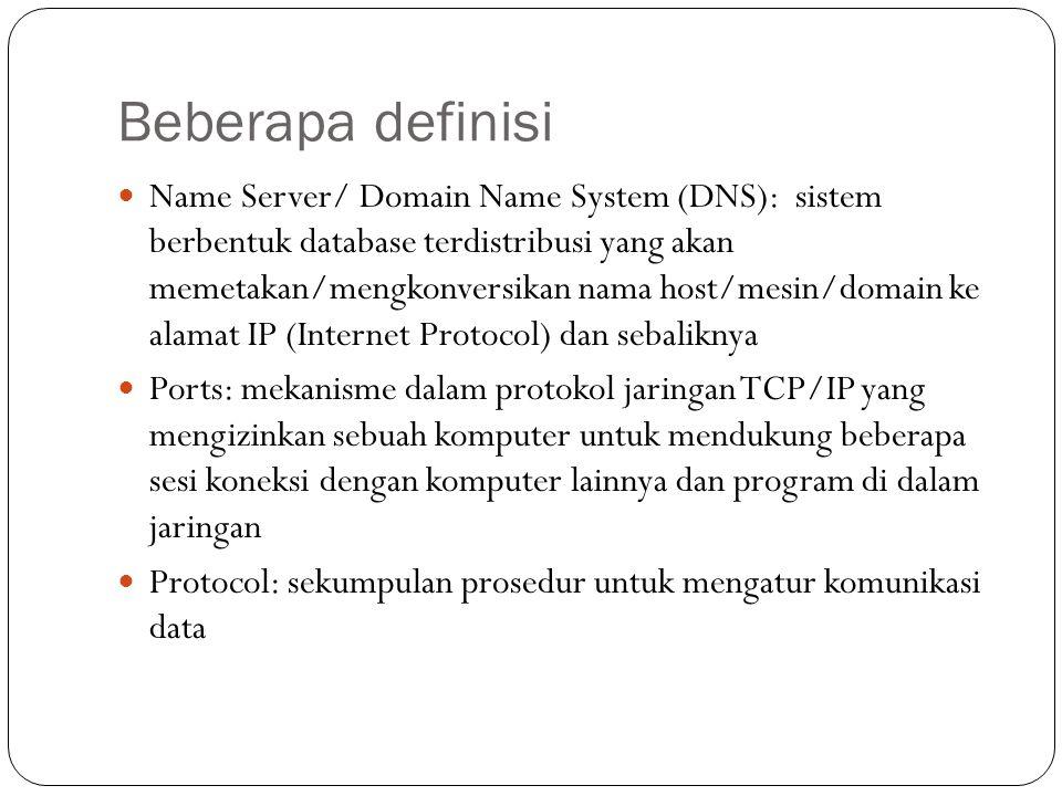 Beberapa definisi Name Server/ Domain Name System (DNS): sistem berbentuk database terdistribusi yang akan memetakan/mengkonversikan nama host/mesin/d