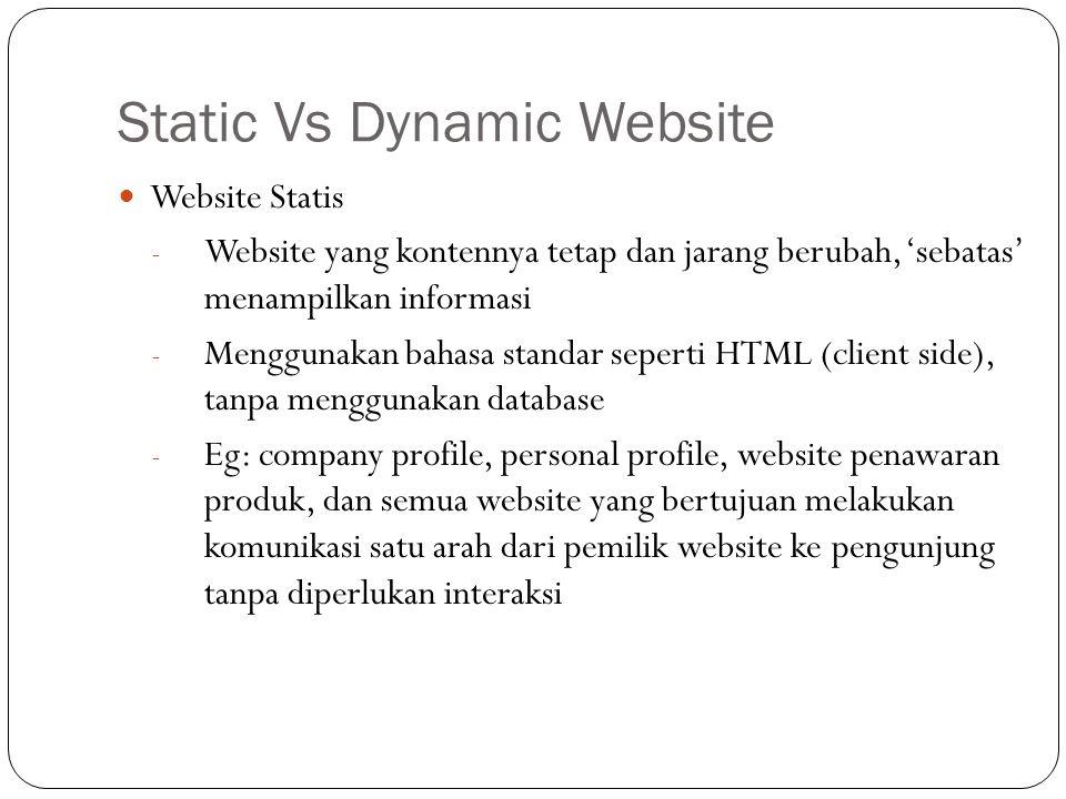 Static Vs Dynamic Website Website Statis - Website yang kontennya tetap dan jarang berubah, 'sebatas' menampilkan informasi - Menggunakan bahasa stand