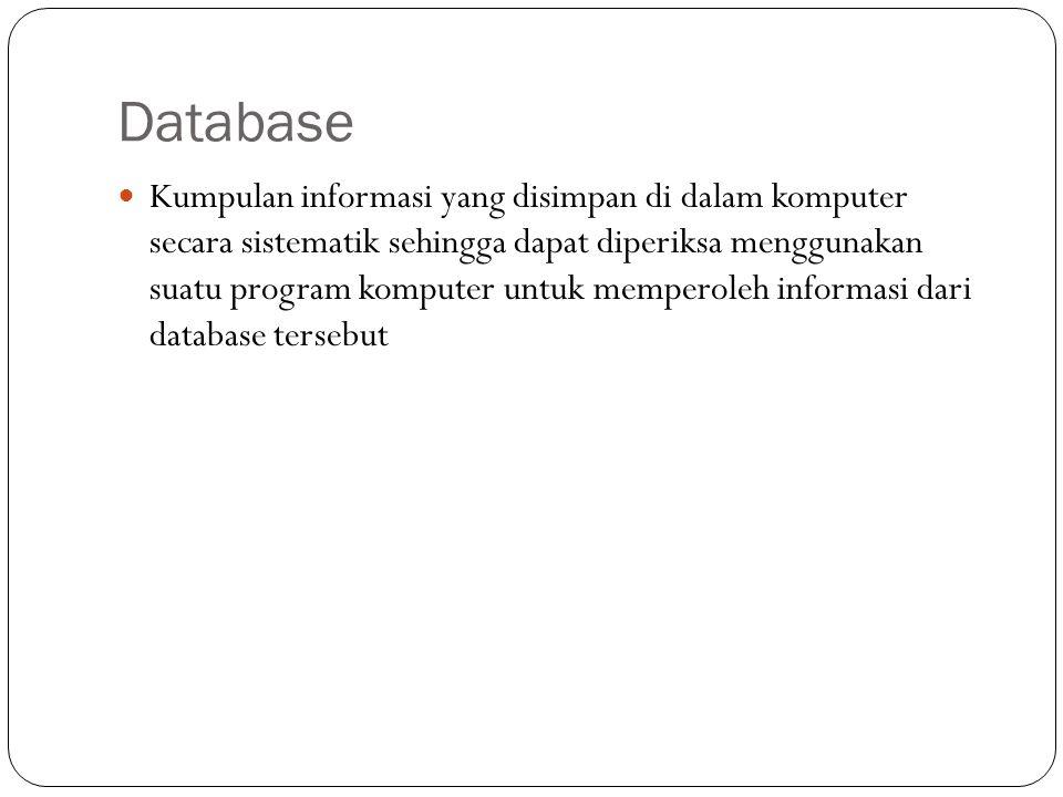 Database Kumpulan informasi yang disimpan di dalam komputer secara sistematik sehingga dapat diperiksa menggunakan suatu program komputer untuk memper