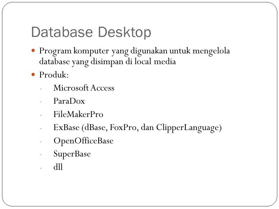 Database Desktop Program komputer yang digunakan untuk mengelola database yang disimpan di local media Produk: - Microsoft Access - ParaDox - FileMake
