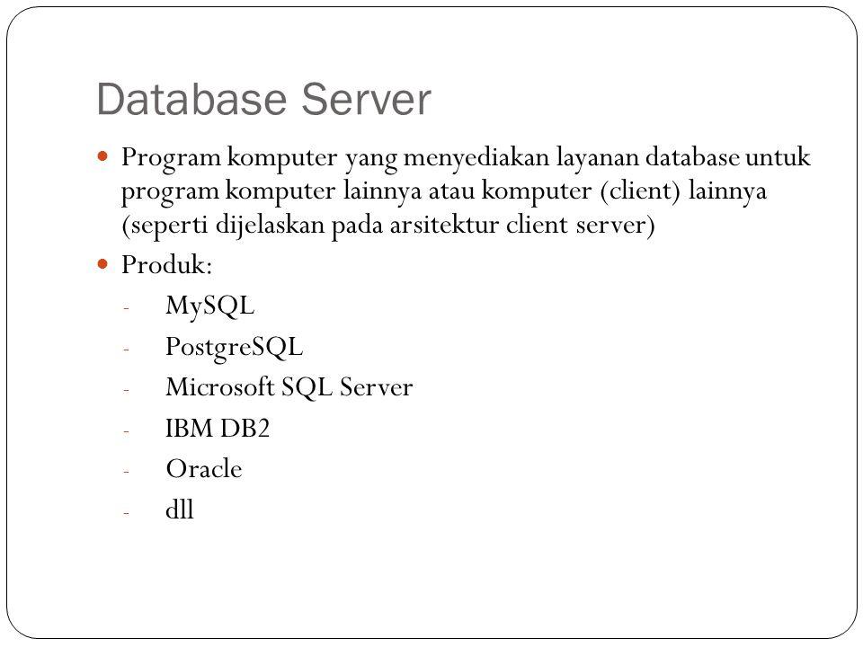 Database Server Program komputer yang menyediakan layanan database untuk program komputer lainnya atau komputer (client) lainnya (seperti dijelaskan p
