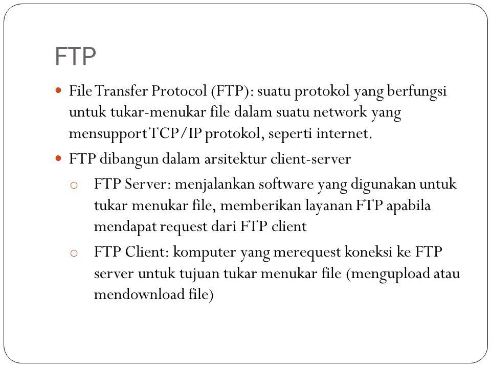FTP File Transfer Protocol (FTP): suatu protokol yang berfungsi untuk tukar-menukar file dalam suatu network yang mensupport TCP/IP protokol, seperti