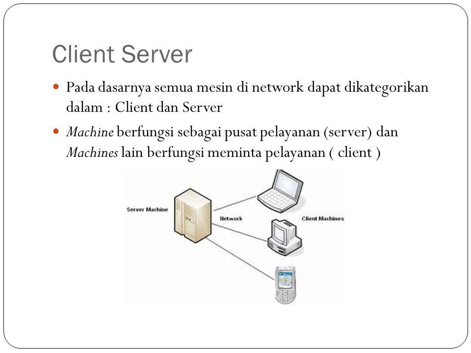 Client Server Pada dasarnya semua mesin di network dapat dikategorikan dalam : Client dan Server Machine berfungsi sebagai pusat pelayanan (server) da