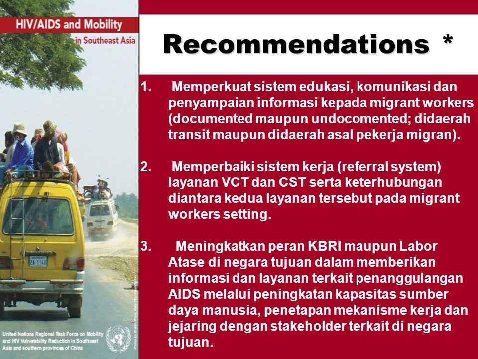 Recommendations * 1. Memperkuat sistem edukasi, komunikasi dan penyampaian informasi kepada migrant workers (documented maupun undocomented; didaerah