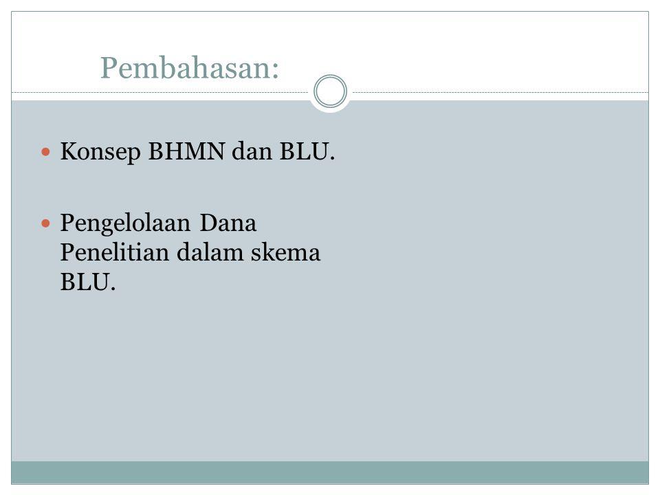 Pembahasan: Konsep BHMN dan BLU. Pengelolaan Dana Penelitian dalam skema BLU.