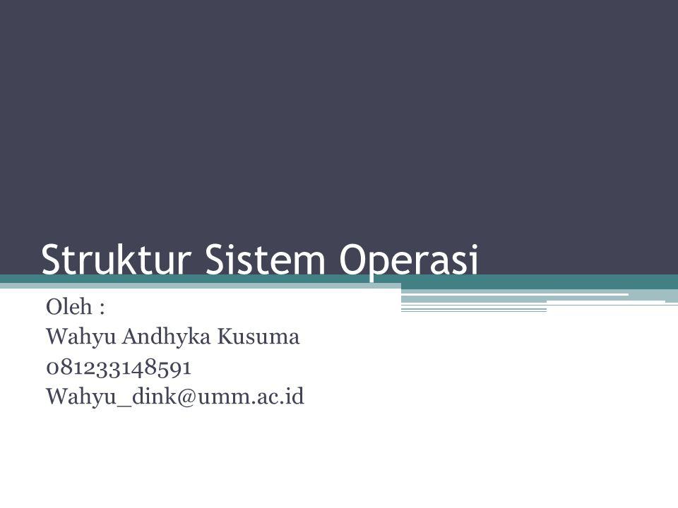 Struktur Sistem Operasi Oleh : Wahyu Andhyka Kusuma 081233148591 Wahyu_dink@umm.ac.id