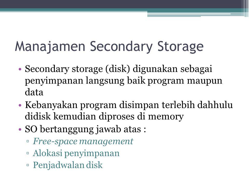 Manajamen Secondary Storage Secondary storage (disk) digunakan sebagai penyimpanan langsung baik program maupun data Kebanyakan program disimpan terle