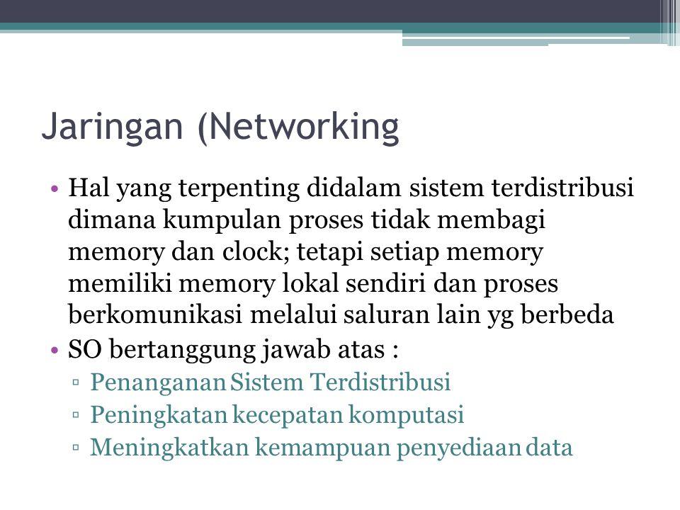 Jaringan (Networking Hal yang terpenting didalam sistem terdistribusi dimana kumpulan proses tidak membagi memory dan clock; tetapi setiap memory memi
