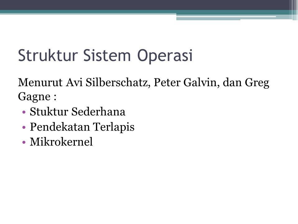 Struktur Sistem Operasi Menurut Avi Silberschatz, Peter Galvin, dan Greg Gagne : Stuktur Sederhana Pendekatan Terlapis Mikrokernel