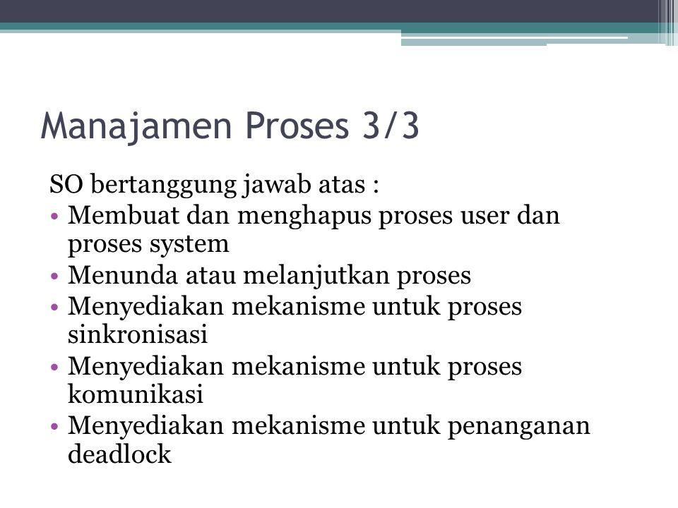 Manajamen Proses 3/3 SO bertanggung jawab atas : Membuat dan menghapus proses user dan proses system Menunda atau melanjutkan proses Menyediakan mekan