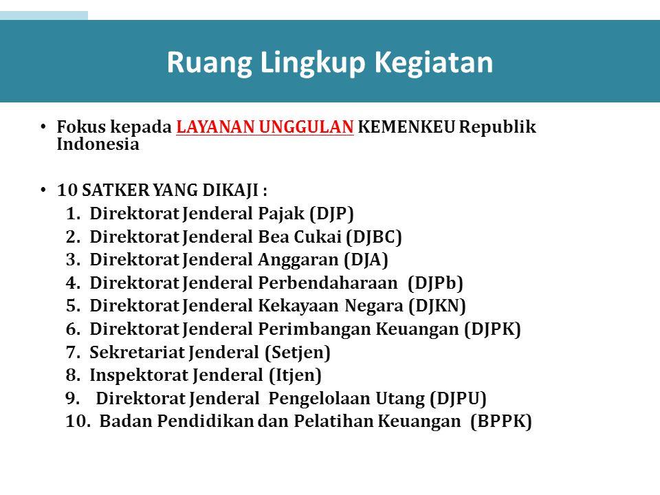 Ruang Lingkup Kegiatan Fokus kepada LAYANAN UNGGULAN KEMENKEU Republik Indonesia 10 SATKER YANG DIKAJI : 1.Direktorat Jenderal Pajak (DJP) 2.Direktora